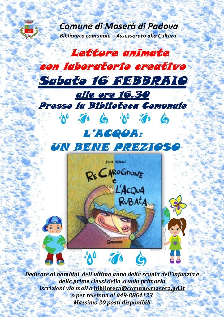 """Lettura animata """"L'acqua: un bene prezioso """" Sabato 16 FEBBRAIO 2019"""